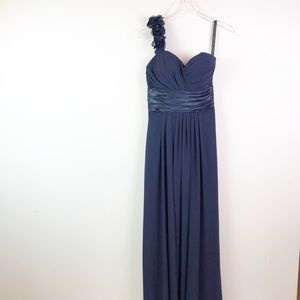 Bill Levkoff Navy One Shoulder Flowers Dress 4
